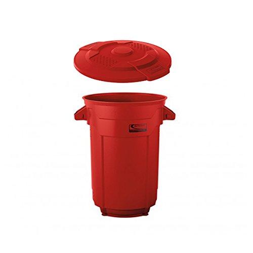 SUNCASTラウンドダストボックス 120L 蓋付き業務用ごみ箱(レッド) B0777BK2MD 120L|レッド レッド 120L