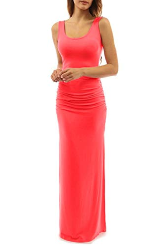 (YMING Women's Bodycon Sexy Evening Floor Length Dress Watermelon Red L)