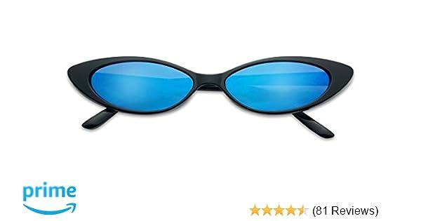 a13e2b07b69 Amazon.com  Mini Vintage Retro Extra Narrow Oval Round Skinny Cat Eye Sun  Glasses Clout Goggles (Black Frame