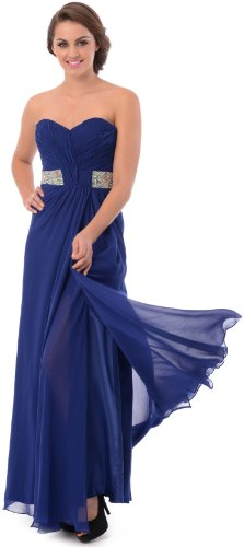 Goddess Long Gown Prom Dress Bridesmaid, Small, Royal