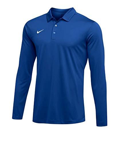 NIKE Mens Dri-FIT Long Sleeve Polo Shirt (Royal, Large)