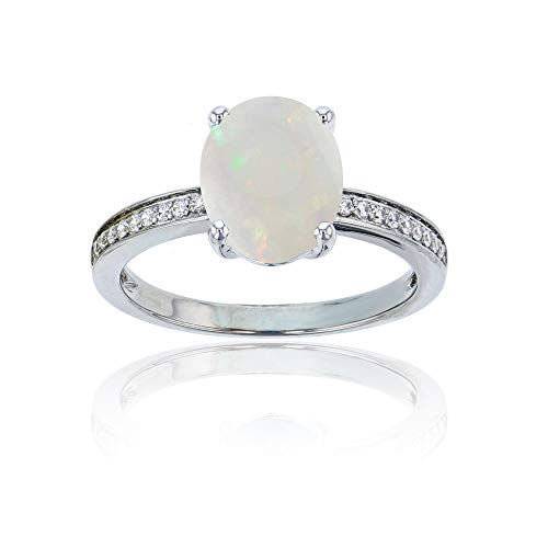 (14K White Gold 0.10 CTTW Round Diamond Channel Set & 10x8 Oval Opal Engagement Ring)