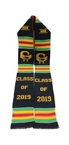 (Ghana Kente Sash (Black/Yellow) - Class of 2019 Sankofa)