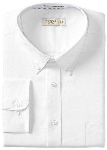 Cotton Long Sleeve Oxford Shirt (Haggar Men's Regular Fit Pinpoint Oxford Solid Long Sleeve Dress Shirt, White, 18.5(36/37))