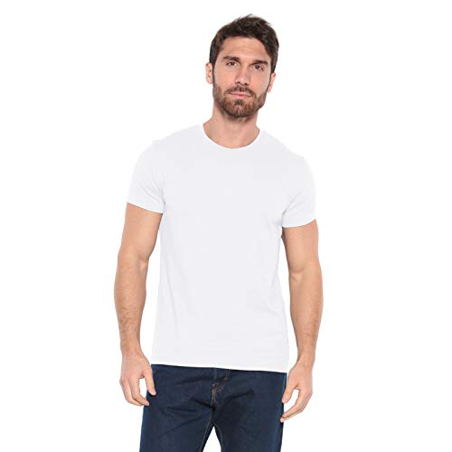 - Men's Designer T-Shirt Lightweight Semi Fit Short Sleeve Crew Neck Organic Cotton Pre-Shrunk Embroidered - Made in USA (Small, White)