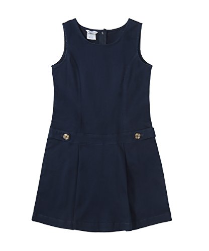 Bienzoe Little Girl's Twill Jumper School Uniforms Button Dress Navy Size 5