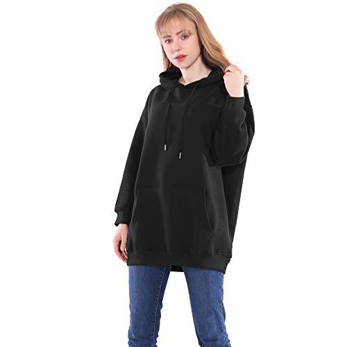 Lang Hoodies Dames Mode Zwart Wit Vlies Capuchon Sweatshirts met een Kap Pullover Oversized Grote Maat