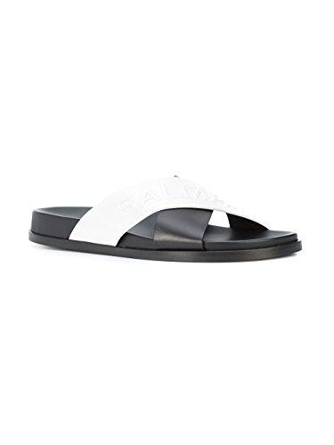 Sandalias Balmain negro S8fc111pgdb181 Cuero Blanco Mujer 00PwU8