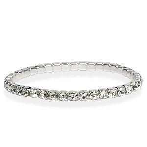 Cristal Swarovski , Bracelet Swarovski Cristal/Plaque argent élastique