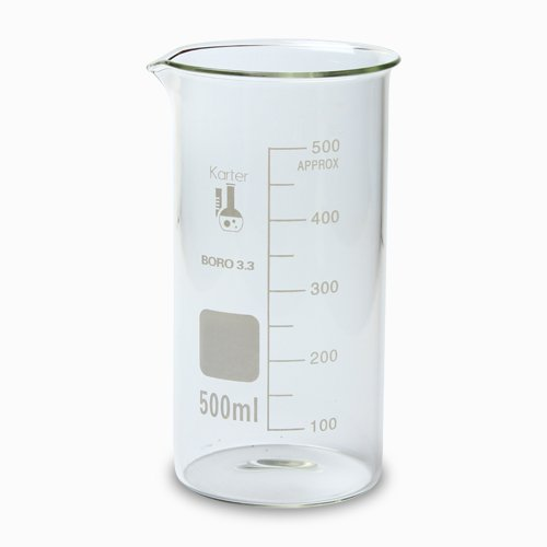213F9 Karter Scientific 500ml Glass Tall Form Griffin Beaker (Pack of 6)