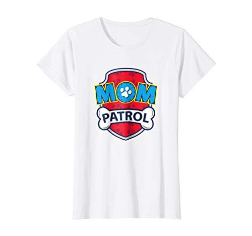 Womens Funny Mom Patrol T-Shirt   Dog Mom Tee Medium White