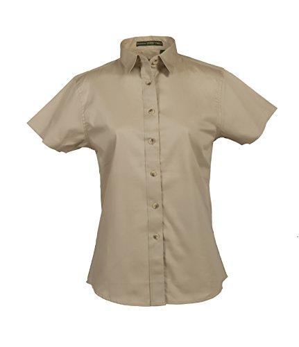 Premium Twill Shirt - Tiger Hill Ladies 100% Cotton Premium Twill Shirt Short Sleeve (3XL, Khaki)