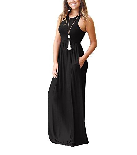 Robe Poches avec Black des Robe Longue d't Rojeam Boho Plage Femme z57fw