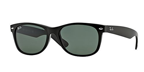 Ray-Ban New Wayfarer Black Unisex Sunglasses RB2132-901L-55