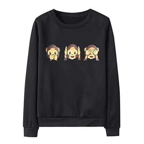 Zlolia Women's Monkey Cartoon Print Sweatshirt Long Sleeve Round Neck Tops Autumn&Winter Ladies Casual Loose Blouse Black