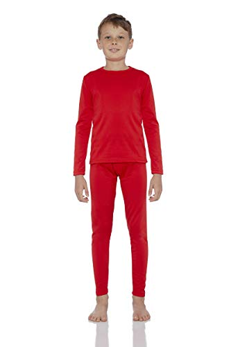 Rocky Boy's Fleece Lined Thermal Underwear 2PC Set Long John Top and Bottom (S, Red) -