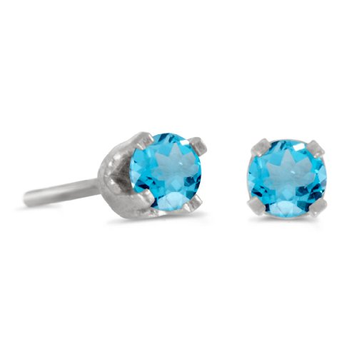 - 3 mm Petite Round Blue Topaz Stud Earrings in 14k White Gold