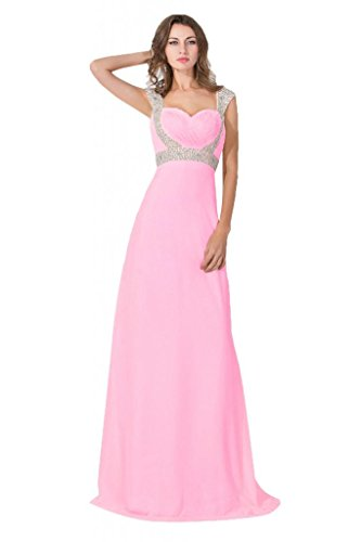 Babyonlinedress Elegant Pink Evening Prom Dress with Beading Straps