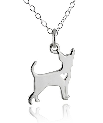 FashionJunkie4Life Sterling Silver Chihuahua Dog with Heart Cutout Pendant Necklace, 18