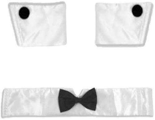 Mens Guys Collar Cuffs Male Stripper Set Bow Tie Butler Waiter Valentines Stag