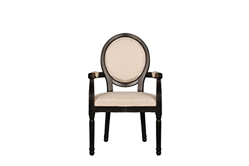 Rustic Distressed Dining Room Chair, Round back Kitchen Chair with Arm Rests (Black) (Table Rustic Distressed Dining)