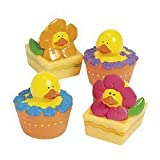Best Fun Express Baby Girl Shower Gifts - 12 ct - Spring Flower Rubber Duck Ducky Review