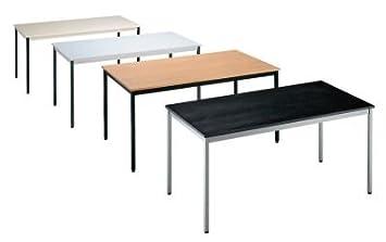 Table polyvalente - rectangulaire - hauteur 740 mm L x l 1200 x 600 mm - plateau façon hêtre - coloris piétement noir -