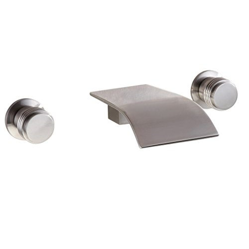 Bathroom Sink Faucet - Modern Wall Mounted Double Handles Widespread Tub Faucet, Brushed Nickel
