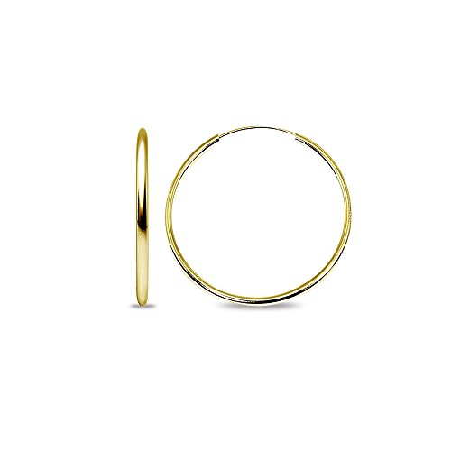 14k Gold High Polished 2x50mm Continuous Endless Round Hoop Earrings by Hoops 4 Less