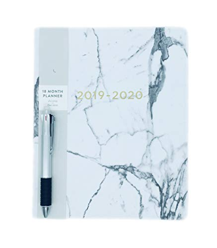 View Agenda - 2019-2020 Marble Eccolo Large Flexible Agenda Planner, 18 Months of Monthly & Weekly Views, 8 x 10
