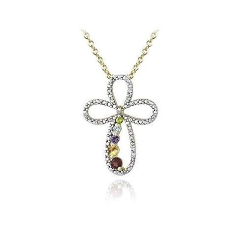 Glitzs Jewels Gold Tone Over Brass Simulated Multi Gemstone & Simulated Diamond Accent Journey Cross Necklace