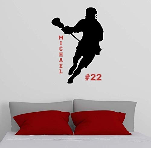 Fathead Vinyl (Personalized Silhouette Lacrosse Wall Decal, Lacrosse Vinyl Sticker, Over 30 Colors & Several Sizes)