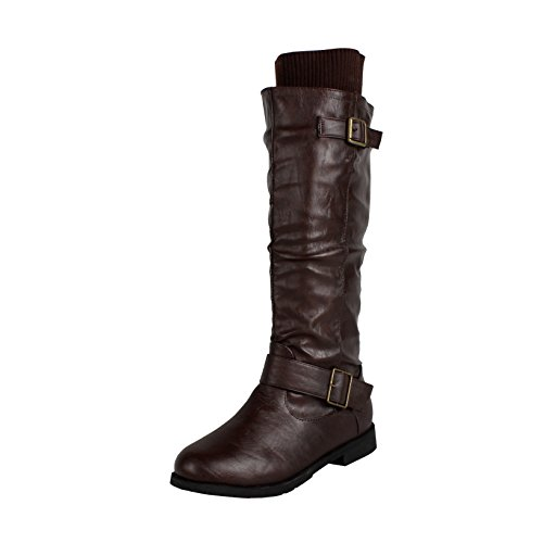 West Blvd Osakav2.0 Riding Boots, Brown Pu, 8.5