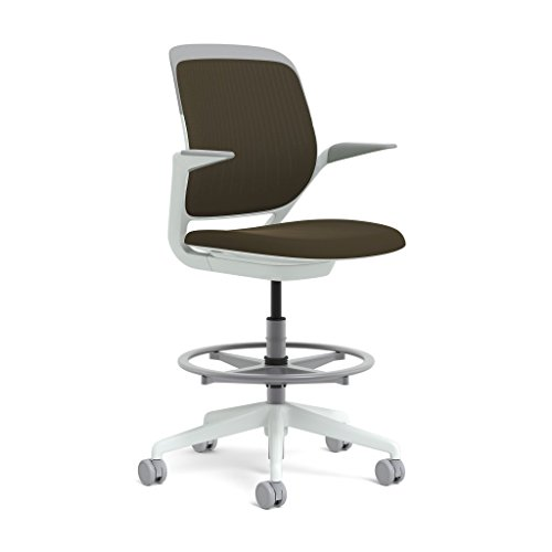 Steelcase White Base with Hard Floor Casters Cobi Stool, Root Beer