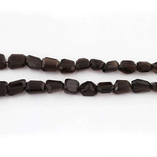 GemAbyss Beads Gemstone 1 Strand Natural Smoky Quartz Faceted Briolettes - Center Drill Nuggets Beads 10mmx8mm-17mmx7mm 16 Inches Code-MVG-13017 ()