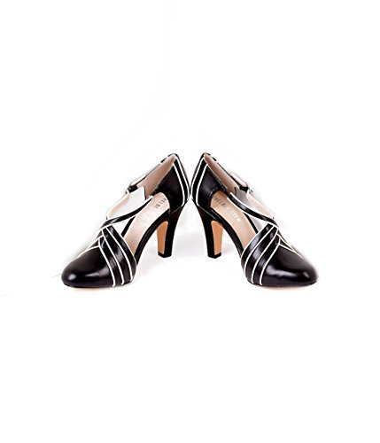 Vintage Style Black & Ivory Wrapover Leatherette D'Orsay Heels