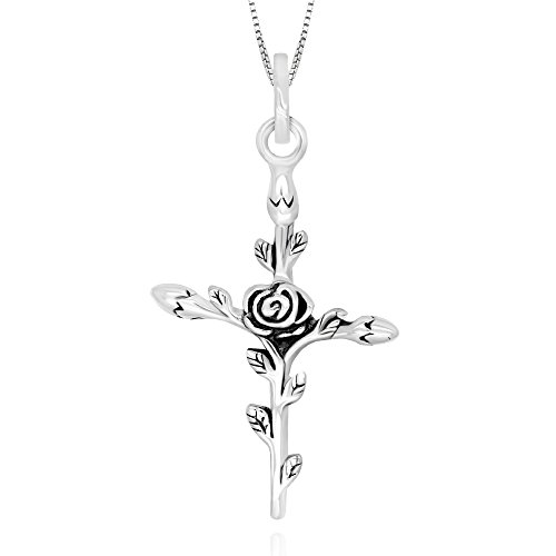 925 Sterling Silver Vintage Rose Flower Cross Pendant Necklace, 18