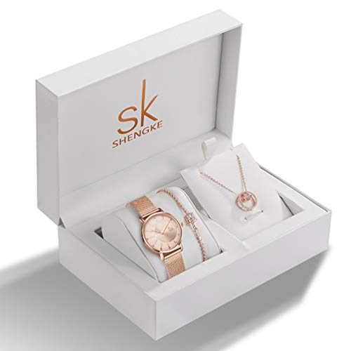 Women Watches Sets Gifts for Mom Wife Girlfriend Quartz Wrist Watch Necklace Bracelet Set (0093-RG-RG SL006 DZ0004) from sk SHENGKE