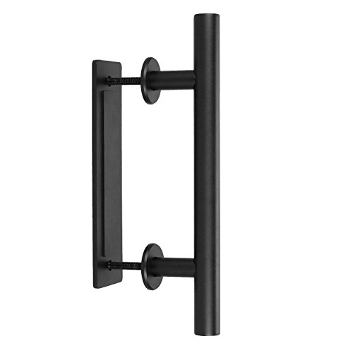 """Gate Hardware Set - HOMEE Barn Door Handle 12"""" Heavy Duty Black Carbon Steel Pull and Flush Handle Gate Shed Hardware Set for Interior and Exterior Doors"""