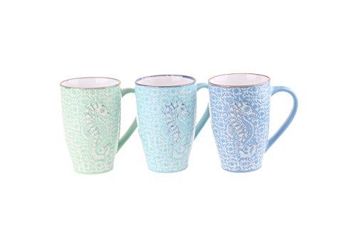 Blue Sky Ceramic Aquarium Seahorse Mugs (Set of 6), 19 oz (Sky Mug Blue)