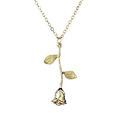 Rinhoo Pendant Necklace Kid Girl Women Gift Rose Flower Lover Friend Novelty Causal RmqNTqx0w