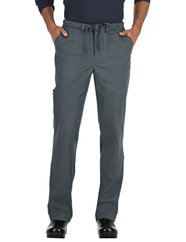 KOI Men's Stretch Ryan Solid Medical Scrub Pant (Medium Short, Charcoal) by KOI