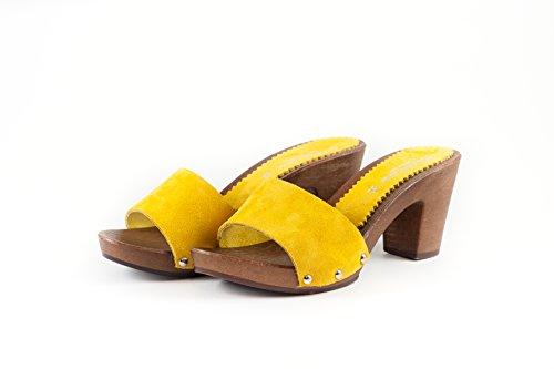 SilferShoes - Zoccolo in pelle scamosciata, colore giallo, Art. NoeMi
