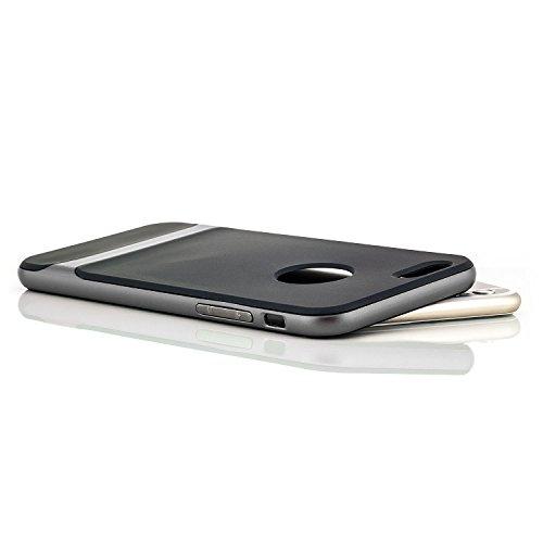 Saxonia iPhone 6 Plus / 6S Plus Hülle + Schutzfolie Silikon Case Cover TPU Slim Silikonhülle Backcover Handyhülle Schale + Rahmen Schutzhülle Grau