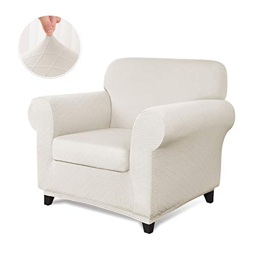 CHUN YI 2-Piece Stretch Polyester and Spandex Rhombus Jacquard Sofa Slipcovers Durable Soft Sofa Cover High Elastic Armchair Slipcover Easy Fitted 1 Seat Couch Cover (Chair, Cream White) (For Slipcovers Armchairs)