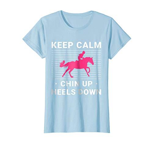 (Keep Calm Chin Up Heels Down Cute Riding T-Shirt. Horse Pink)