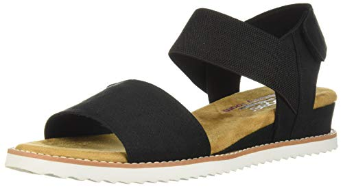 Skechers BOBS Women's Desert Kiss-Stretch Quarter Strap Sandal Flat, Black 7 W US