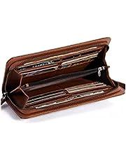 حقيبة يد جلدية منظمة للبطاقات محفظة طويلة ثنائية الطيات