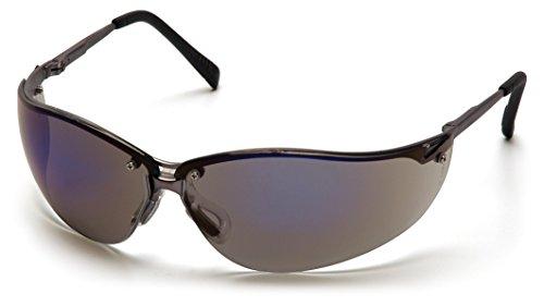 Pyramex V2-Metal Safety Eyewear, Blue Mirror Lens With Gun Metal Frame ()