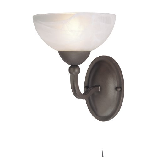 Westinghouse Lighting 6722600 One Light Interior Wall Fixture Organic Gold Finish with Frosted White Alabaster Glass